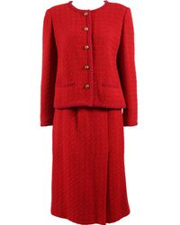 Chanel - Vintage Red Wool Jacket - Lyst