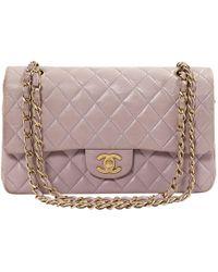 Chanel - Vintage Timeless/classique Purple Leather Handbag - Lyst