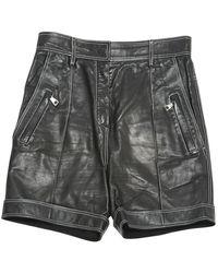 Balmain Shorts en Cuir Noir