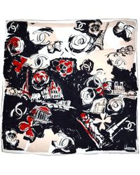Chanel - Navy Silk Silk Handkerchief - Lyst