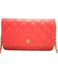f08c8c3f54d7 Lyst - Chanel Wallet On Chain Leather Mini Bag in Red