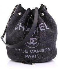 Chanel - Pre-owned Deauville Blue Cloth Handbags - Lyst