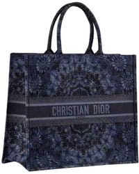fd3710fe515 Dior Logo Embroidered Canvas Book Tote in Black - Lyst