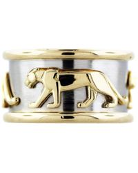 Cartier - Pre-owned Vintage Panthère Multicolour Yellow Gold Rings - Lyst