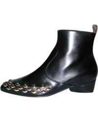 39e046f4bc49 Louis Vuitton - Pre-owned Black Leather Ankle Boots - Lyst