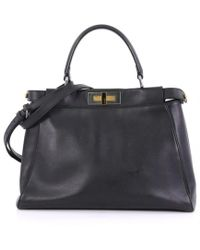 317a5414437e Lyst - Fendi Peekaboo Python Mini Satchel in Black