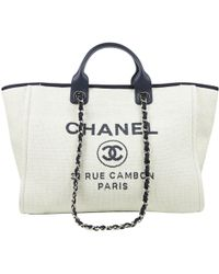 Chanel - Pre-owned Deauville White Cloth Handbags - Lyst