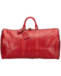 Louis Vuitton - Pre-owned Keepall Leather 48h Bag - Lyst