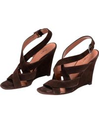 Alaïa - Brown Suede Sandals - Lyst