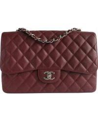 Chanel - Pre-owned Timeless/classique Burgundy Leather Handbags - Lyst