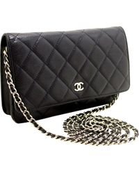 Lyst - Chanel Quilted Patent Leather Wallet On Chain Blue-ish Green ... 39d986e072a55