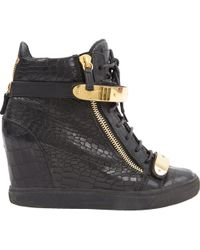 Giuseppe Zanotti - Donna Black Leather Trainers - Lyst