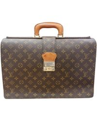 c83921b40caf Lyst - Louis Vuitton Pre-owned Vintage Keepall Brown Cloth Travel ...