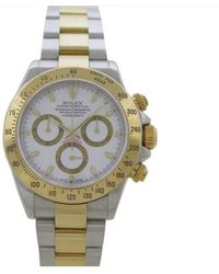 Rolex - Pre-owned Daytona Silver Gold And Steel Watches - Lyst