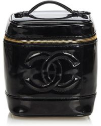 Chanel - Pre-owned Vintage Black Patent Leather Travel Bags - Lyst