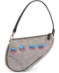 Dior - Pre-owned Vintage Saddle Grey Cloth Handbag - Lyst