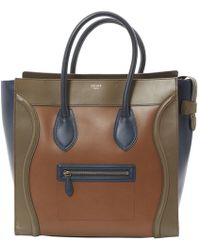 5d4cd1d1d22f Lyst - Céline Green Brown Suede Leather Tricolor