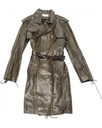 Emilio Pucci - Pre-owned Khaki Exotic Leathers Trench Coat - Lyst