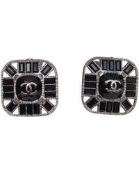 Chanel - Pre-owned Vintage Black Metal Earrings - Lyst