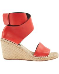 Céline - Red Leather Sandals - Lyst