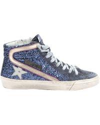 ab477c65b37e Golden Goose Deluxe Brand Blue Glitter Mid Star Sneakers in Blue - Lyst