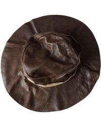 552c32b01bc Marni - Pre-owned Brown Leather Hats - Lyst