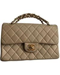 Chanel - Vintage Timeless/classique Beige Leather Handbag - Lyst