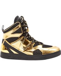 Marc Jacobs - Gold Patent Leather Trainers - Lyst