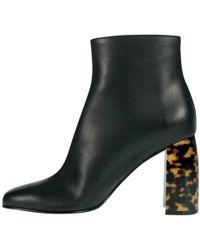 Stella McCartney - Black Leather Ankle Boots - Lyst