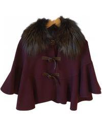 Dior - Burgundy Wool Coat - Lyst