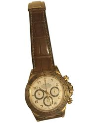 Rolex - Pre-owned Vintage Daytona Gold Yellow Gold Watches - Lyst