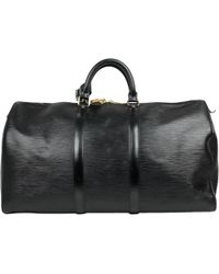 Louis Vuitton - Keepall Black Leather Bag - Lyst