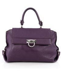 Ferragamo - Purple Leather Handbag - Lyst