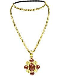 Chanel - Vintage Cc Gold Metal Long Necklace - Lyst