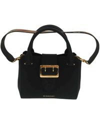 a2b3bcab49bb Lyst - Burberry Remington Large Leather Tote in Black