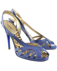 Roberto Cavalli - Purple Patent Leather Sandals - Lyst