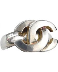 74b3c7fe Vestiaire Collective · Chanel - Vintage Silver Metal Ring - Lyst