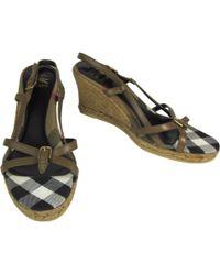 3931192ec Burberry - Brown Leather Espadrilles - Lyst
