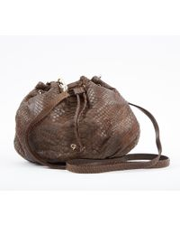 c2396c7f579bd Ted Baker Lowri Exotic Leather Shoulder Bag in Black - Lyst