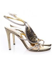 22478d94109cda Lyst - Rene Caovilla Crystal Gladiator Leather and Satin Sandals in ...