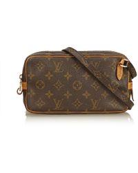 Louis Vuitton - Vintage Marly Brown Cloth Handbag - Lyst