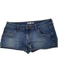 Maje - Blue Cotton Shorts - Lyst