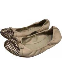 Louis Vuitton - Beige Leather Ballet Flats - Lyst