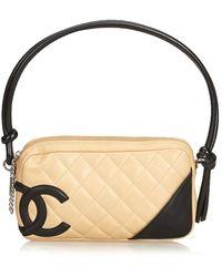 4315f792e887b5 Lyst - Chanel Cambon Line Medium Tote Bag Calfskin Beige / Black A ...