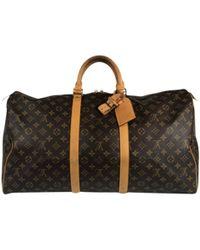 Louis Vuitton - Keepall Brown Cloth Bag - Lyst