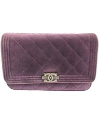 Chanel - Wallet On Chain Velvet Clutch Bag - Lyst