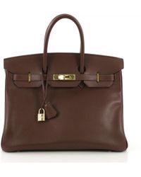 Hermès - Pre-owned Birkin 35 Brown Leather Handbags - Lyst