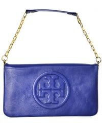 8f0feacde3f5 Tory Burch - Blue Leather Clutch Bag - Lyst