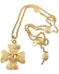 Chanel - Vintage Gold Metal Necklace - Lyst