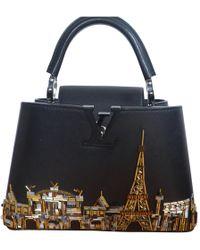 Louis Vuitton - Pre-owned Capucines Black Patent Leather Handbag - Lyst dc405527ba69a